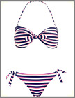 Ladies NEW Ex Monsoon/Accessorize Nautical Twist Bandeau Navy Bikini Set, UK8/10