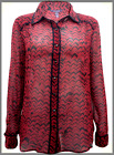 Ladies NEW Long Tall Sally RED Sheer Chiffon Chevron Printed Shirt - Size 12-22