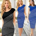 Women Striped Bodycon Pencil Dress Evening Party Short Sleeve Midi Dress TXWD