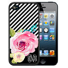 PERSONALIZED RUBBER CASE FOR iPHONE 7 6s 6 5c SE 5 5s PLUS BLACK STRIPES FLOWERS