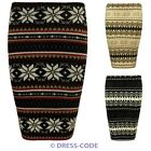 Ladies Womens Fairisle Snowflake Mini Knited Stretch Pencil Bodycon Skirt Dress