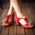 Enthnic Womens PomPom Rhinestones Retro Chunky Heel T Strappy Sandals Shoes Hot