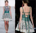 New Occident runway fashion backless embroidery  shoulder suspender skirt dress
