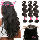 7A Malaysian Body Wave 3 Bundles With 360 Lace Lace Closure 100% Human Har Weave