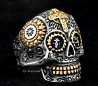 Mens Gothic Skull Cross Ring Silver Gold Stainless Steel Biker Goth Jewelry Ring