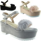 New Womens Ladies Ankle Strap Platform Faux Suede Fur Wedge Shoes Sandals Size