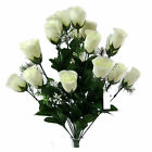 18 Head rose buds bush with Gyp - Artificial Silk Flower Bunch assorted colours