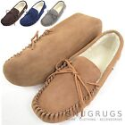 SNUGRUGS Mens Genuine Suede Moccasin Sheepskin Wool Slipper with Soft Suede Sole