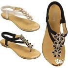 New Womens Ladies Toe Post Flower Diamante Fashion Flat Summer Sandals Shoes UK