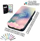 Think Happy Be Happy Love Life Positive - Leather Flip Wallet Phone Case Cover