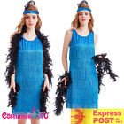 Deluxe Ladies 1920s Roaring 20s Blue Flapper Costume Gatsby Ganster Fancy Dress