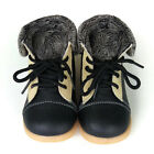 NEW Toddler Leather walker Boots black&beige girl boy baby kids child appx1-3yrs