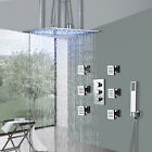 """Thermostatic Large 16"""" Rain LED Shower Head 6 Message Jets With Hand Shower Tap"""