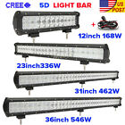 "5D 12""/20""/23""/31""/36""inch 4"" 18W 168W 336W 546W LED Light Bar Offroad Driving"