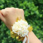 Bridal Bridesmaid Silk Flowers Wrist Corsage Wedding Party Rose Bracelet Ribbon