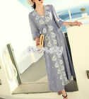 Womens Cotton linen Full Length Dress Embroidery V-Neck Long Sleeve Dress Korea