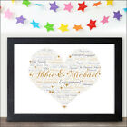 PERSONALISED Engagement Love Heart Print for Him Her - Couples Engaged Gifts