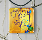 YELLOW BLUE COLORS ABSTRACT PENDANT NECKLACE 3 SIZES CHOICE -ghj5Z