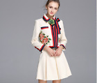 2017 Occident Autumn Runway Embroideried coat+fashion skirt makings suit SMLXL