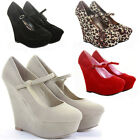 Womens Wedge Shoes Wedges High Heels Platform Smart Pumps Ankle Strap Size