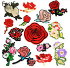 1pair Flower Embroidery Sew On Iron On Patch Badge Bag Clothes Applique Craft
