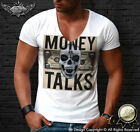 Money Talks Skull Mens Deep V Neck T-shirt Dolllar Bill Dollars Swag MD669