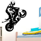 Superbike Motorbiker Wall Art Sticker Boys Bedroom Stunt Biker Decor Transfer