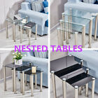 Square Glass Nest 3 Coffee Tables Side End Lamp Nested Tables with Chrome Legs
