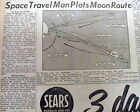 2 1958 newspapers SPACE TRAVEL to the MOON by ROCKET is planned out in detail
