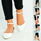 Womens Ladies Ankle Strap Flat Ballerinas Dolly Court Pumps Casual Summer Shoes