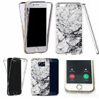 Shockproof 360° Silicone Clear Case Cover For many mobiles - marble design 336
