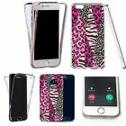 360° Silicone gel full body Case Cover for many mobiles - pink zoo print