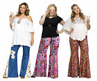Adult 60s 70s Hippie Groovy Flower Child Bell Bottom Denim Peace Pants Plus Size