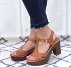 New Womens T-Strap Faux Wooden Platform Chunky Heel Sandals Sandal in Tan Brown