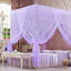 Purple Lace 4 Corners Post Bed Canopy Mosquito Netting For Twin Full Queen Size image