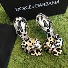 NIB Dolce & Gabbana White Animal Print Bow Satin Sandals