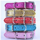 Glitter Leather Dog Collar Rhinestone Buckle Puppy Collar For Dogs Pet Products
