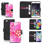 Black pu leather wallet case cover for most mobiles - floral emotion