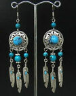Pair New Tibet Style Tibetan Silver Turquoise Beads Feather Earrimgs