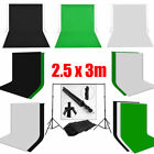 PRO. Photo Muslin Backdrop Black White Green Cotton Background Stand Support Kit