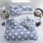 Gray Cross Bed Pillowcases Quilt Cover Duvet Cover Set Twin Queen King Size