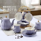 Porcelain Gold Rim Coffee Tea Set Teapot Sugar Bowl Creamer Cups Infuser Holder