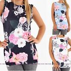 WOMENS LADIES SCOOP NECK SLEEVELESS FLOWER FLORAL RUFFLE FRILL T SHIRT TOPS