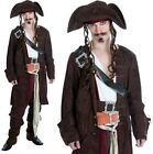 Mens Deluxe Rum Smuggler Pirate Fancy Dress Costume Mens Jack Sparrow Outfit fs