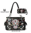 Cowgirl Trendy Western Cross Black Sugar Skull Wallet & Shoulder Bag Set