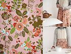 Blooming garden floral 100% Cotton Fabric BY HALF YARD Peach rose flower ff107+