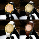 New Women's Man's Fashion PU Leather Band Analog Quartz Round Wrist Watch Gift