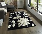 Think Rugs Hong Kong Cheap Modern Black Floral Rug HK2085
