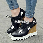 Women's Wedge Heels Plteform shoes Lace Up Pieced Shoes Pumps High Heels Size 8