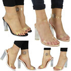 Womens Ladies Clear Block High Heels Ankle Strappy OpenN Toe Sandals Shoes Sizes